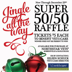 Jingle all the way 50/50 raffle ticket